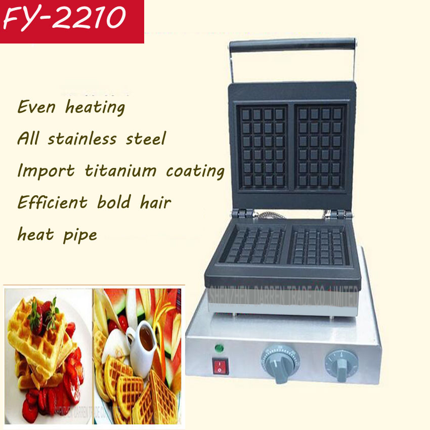 1PC FY-2210 Stainless steel waffle maker waffle machine commercial waffle maker belgian waffles machine one head rotary belgian waffle maker machine for commercial restaurant machinery wholesale