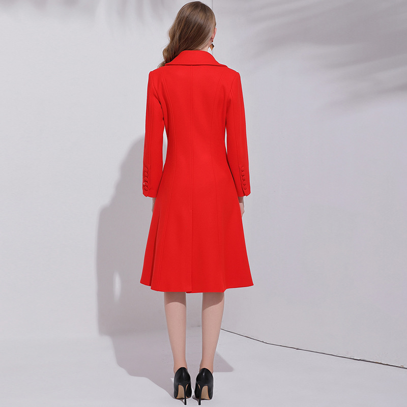 ACRMRAC Mulheres mangas Compridas Longa seção Magro vermelho Único Breasted Misturas De Lã casaco De Lã casaco - 2