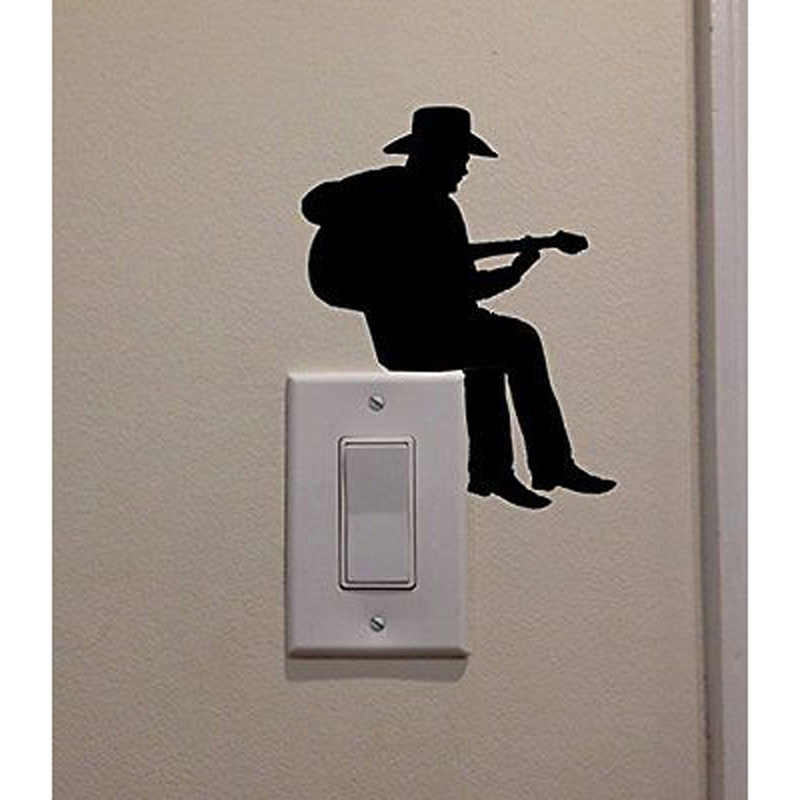 رعاة البقر لعب الغيتار موضة الفينيل ملصق تحويل غرفة المنزل الجدار ملصق مائي 5WS0087