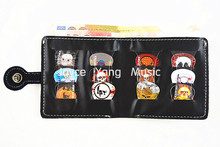 2 In 1 Leather Guitar Picks Wallet&12pcs Rock Skull Celluloid Plectrums Printed Both Sides Free Shipping