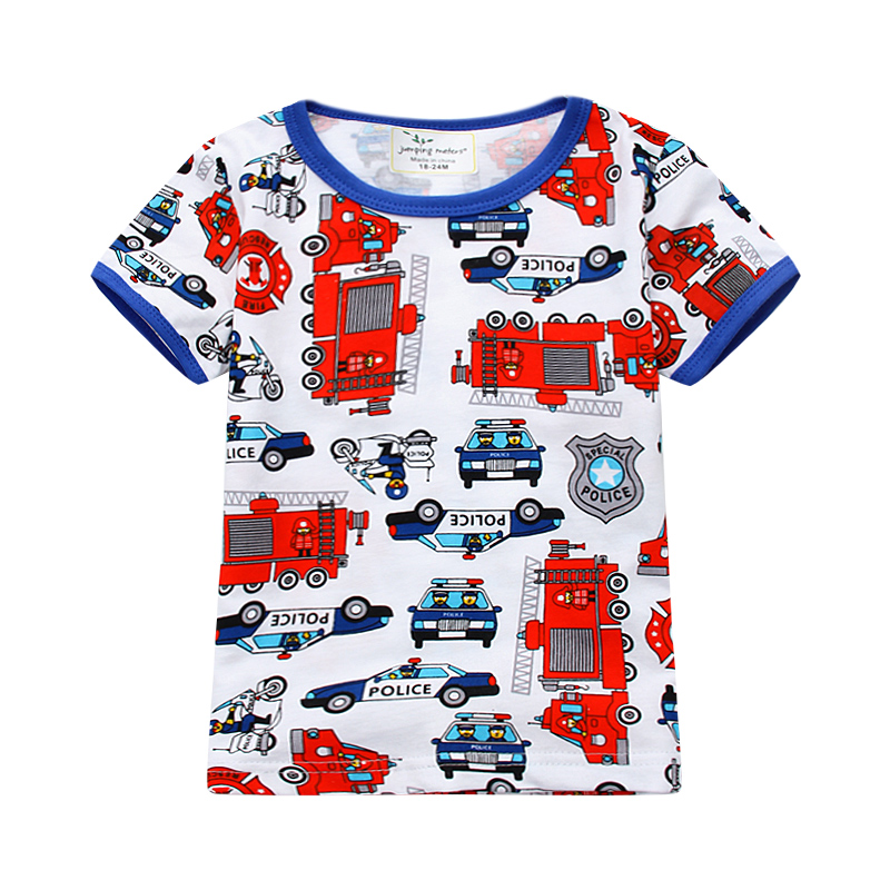 Jumping meters boys summer T shirts all printed cars knitted short-sleeved cotton children clothes fashion kids boys Tees Tops 2016 summer boys short sleeved t shirt two piece children s sports suit camouflage uniforms boys