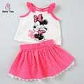 2016 Summer Kids Girl Clothing Sets Cartoon Character Minnie Pattern Top Vest+Dress Fashion New Chilren Girl Clothes Set Suits
