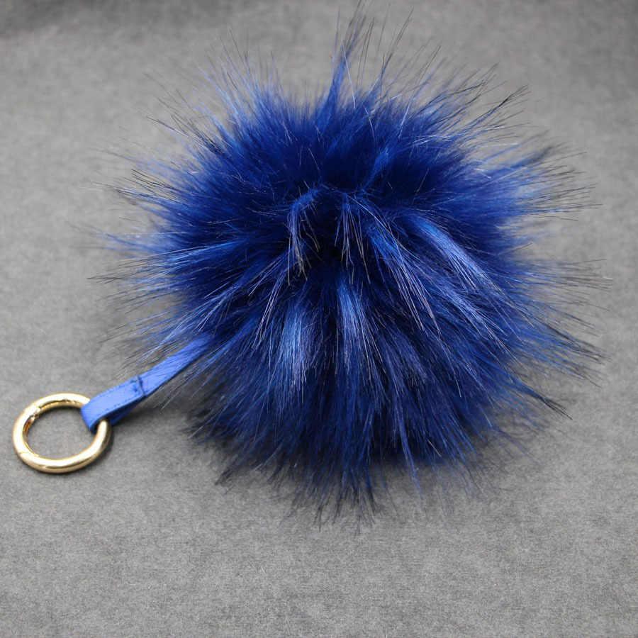 15 cm Colorido Chave Pingente Cadeia Chaveiro Bola De Pele De Guaxinim Pompons De Pele Falsa Pele De Guaxinim Poms Chaveiros Anel De Pele Macia saco