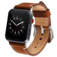 ASHEI Watch Replacement Band For Apple Watch Series 3 2 1 Vintage Genuine Leather Watchbands For
