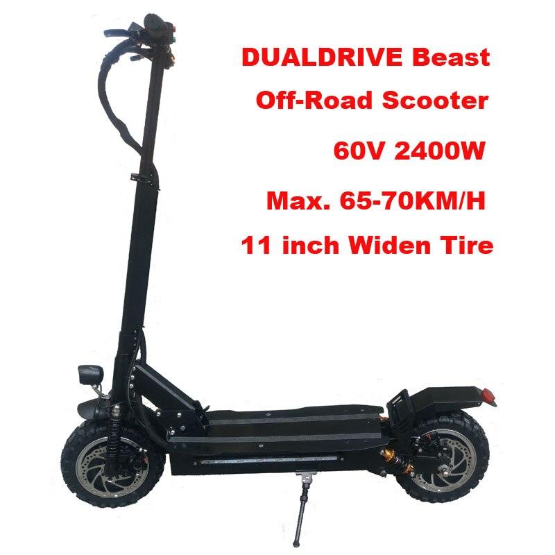 2400 W Dualdrive 11 pouces Scooter électrique roi puissant Hoverboard adulte hors route Skateboard professionnel électrique Longboard