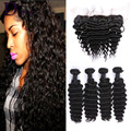Lace Frontal Closure with Bundles Brazilian Virgin Hair Deep Wave Human Hair 4 Bundles With Closure Pineapple Wave Hair