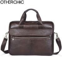 OTHERCHIC Genuine Leather Men Bag Vintage Totes Laywer Handbags Men Messenger Bags Briefcase Men's Bussines Bag Laptop L 7N07 26