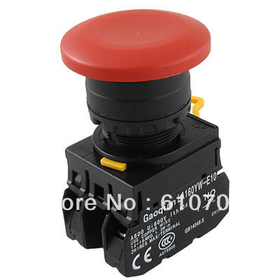 Emergency Stop Red Mushroom 1NC 1NO Momentary Spring Return Push Button Switch ignition momentary press push button switch ycz4 a emergency stop 7 pin ip55 protective cover on off red green sign brass feet