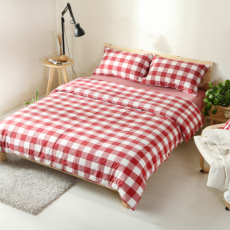 4pcs 100% Washed Cotton Vintage Style Fabric Classical Red Plaid Bed Set,  Queen 1.5m King 1.8m Fitted Sheet In Bedding Sets From Home U0026 Garden On ...
