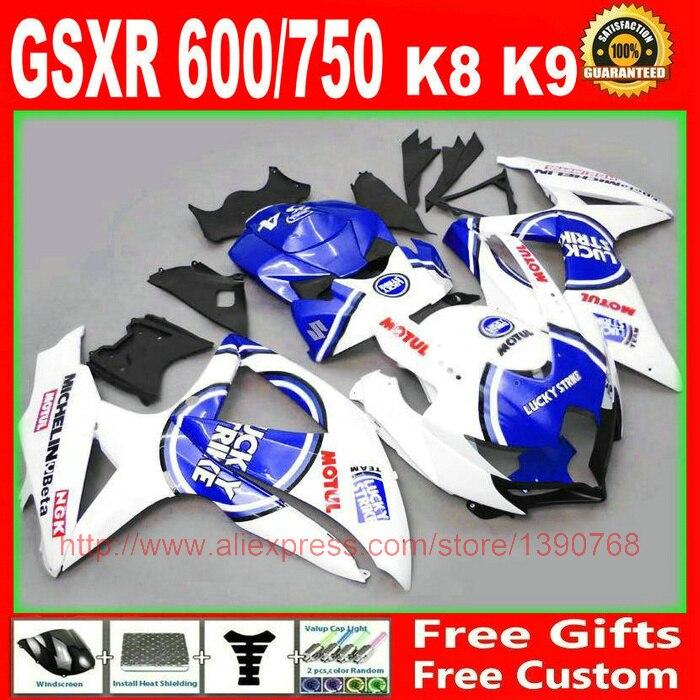 обтекатели для Suzuki 2008 2009 2010 GSXR 600 750 синий белый лаки страйк обтекатель комплект К8 08 09 10 GSXR 600 750 S365