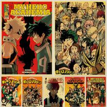 Retro Posters Painting Wall-Stickers Academia Home-Decor Anime My-Hero Janpnese Paper