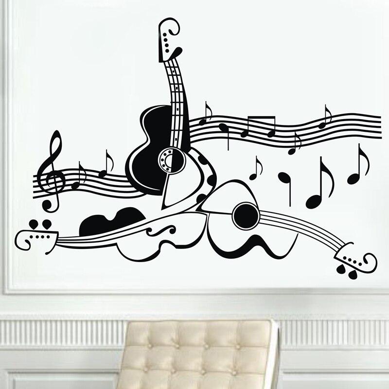 Nouveauté design Original guitare instrument de musique vinyle stickers muraux, musique guitare décoration murale autocollants personnalisés