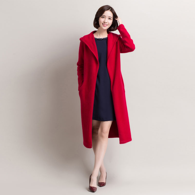 Hooded Long Red Cardigan Thick Calf Glengarry Fashion Long Snap ...