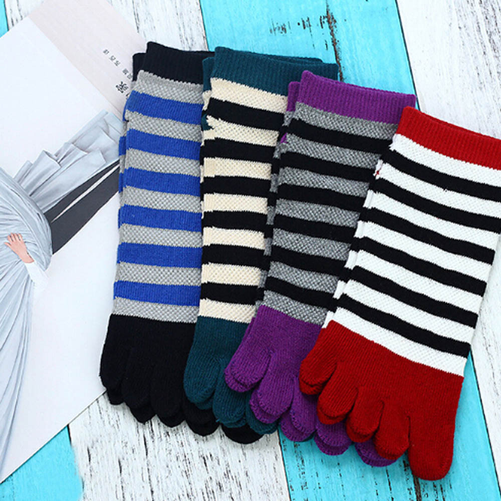 Cotton Toe Socks Striped Colorful Patchwork Men Five Finger socks men Good Quality Short Socks Warm