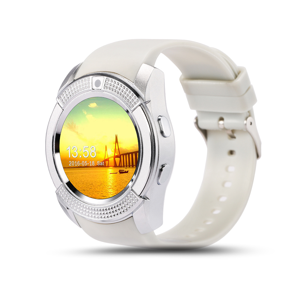 SOGRACE V8 Bluetooth Smart Watches 1.22 inch Round Smartwatch Fitness Bracelet Cool Smart-Watch Clock With SIM TF Phone Watch