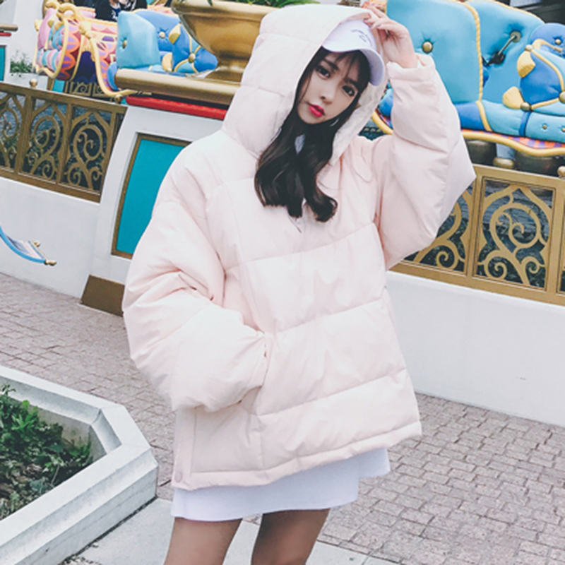 2017 Women Winter Coats Korean Version Of The Hooded Cotton Bat Sleeves Jacket Feather Cotton Coat