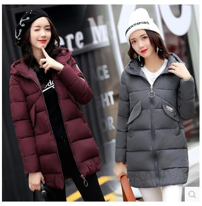все цены на  2017 Winter new women's self-cultivation feathers in the long section of the zipper hooded thickening students cotton jacket wom  онлайн