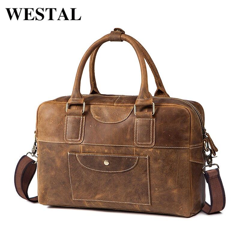 WESTAL Crossbody Bag Shoulder Genuine Leather Men Messenger Bag Leather Crossbody Shoulder Bag Zipper Handbag Strap Bags 8105