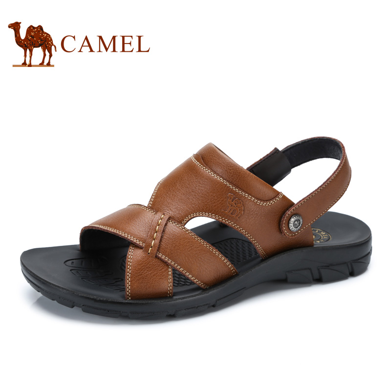 Camel men's shoes 2017 summer new male sandals beach shoes men breathable leather open-toed sandals A722287912 camel men s outdoor anti collision toe cap cowhide casual beach sandals summer breathable river sandal male a622309222