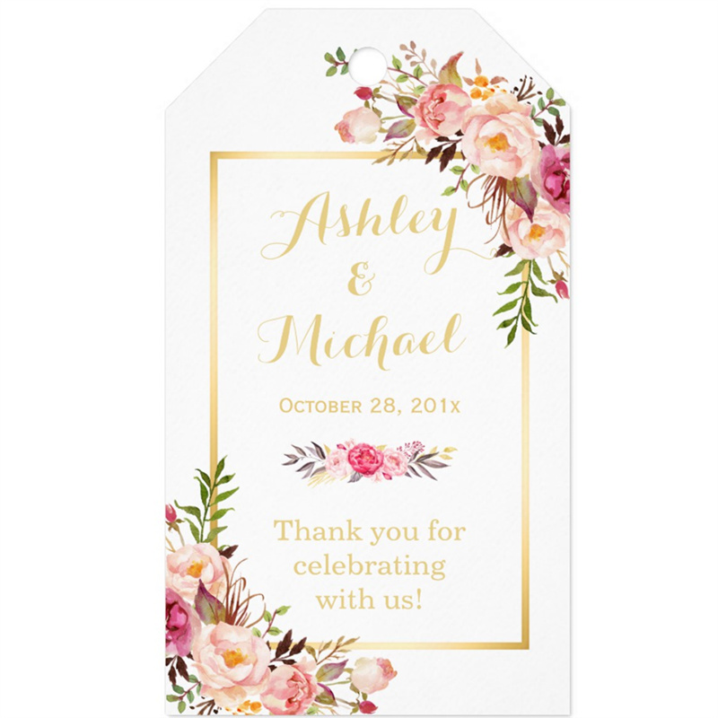 Wedding Thank You Etiquette No Gift: Personalized Wedding Gift Box Tags Burgundy Floral Favor