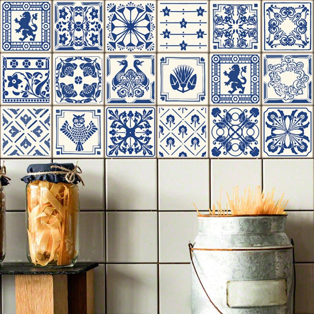 3D Mediterranean Style Retro Tile Floor Sticker Kitchen Bathroom ...