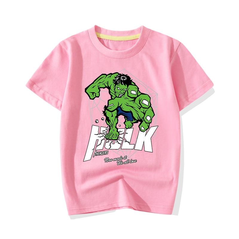 Big Boy Girl Summer Cartoon Hero Hulk Print T-shirts Clothes Children Baby Cute Pink Short Sleeve Tee Top Tshirts Clothing JY011 (4)