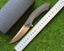 Free delivery of high quality folding knife ball bearing quick-opening D2 TC4 titanium alloy processing fruit knife blade outdoo