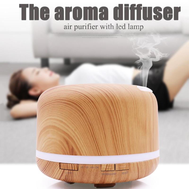 500ml Air Humidifier Essential Oil Diffuser Wood Grain Aroma Aromatherapy Diffuser Mist Maker LED light for Home Office 100-240V 500ml usb air humidifier essential oil diffuser mist maker fogger mute aroma atomizer air purifier night light for home