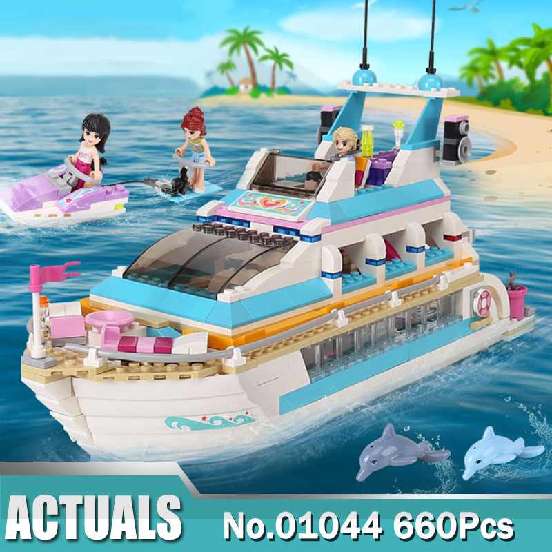 Friend Girl Series Building Blocks Toys Dolphin Cruiser 01044 Brick Girls Toys Compatible With 41015 Christmas