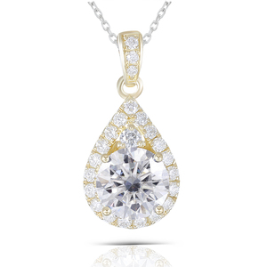 Image 5 - DovEggs 10K Yellow Gold 1.25CTW 6.5mm GH color Moissanite Halo Pendant Water Drop Shaped Pendant with Accents for Women