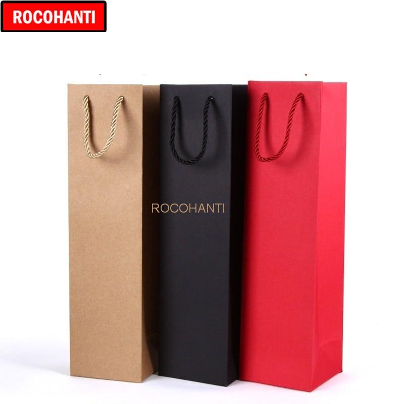 20X Custom Printed Logo 250grams Paper Wine Bag For Single / Double Wine Bottle Gift Retail Packaging Bags , Red / Black / Brown
