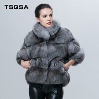 TSQSA Real Fox Fur Women Coats Silver Blue Fox Fur Female Short Style Jackets Winter Warm Leather Outerwear Lady Clothes TAC1605