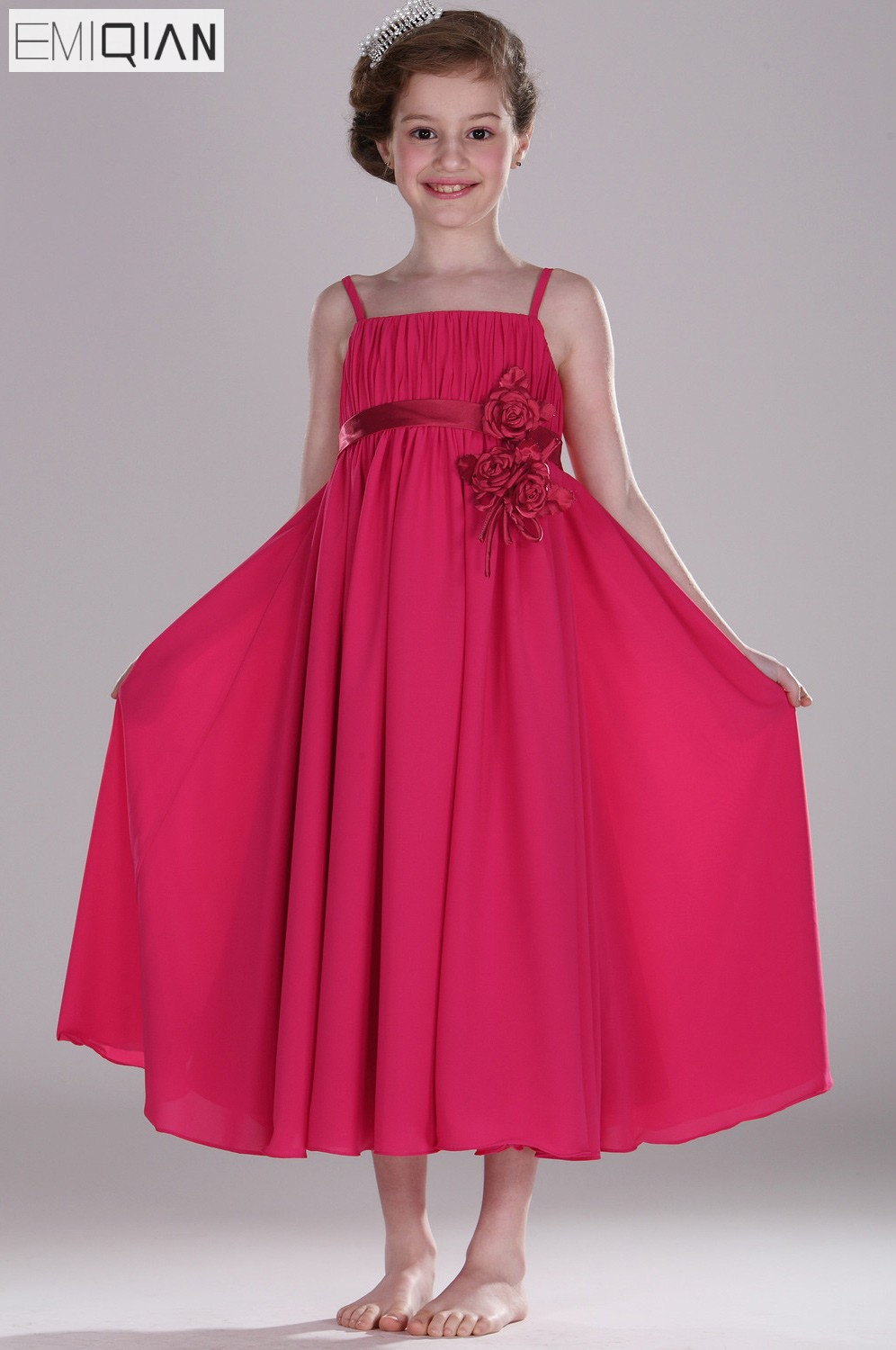 Freeshipping New Arrival Adorable Cute Scoop Empire   Flower     Girl     Dress