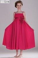 Freeshipping Nuovo Arrivo Adorabile Carino Scoop Empire Flower Girl Dress