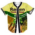 Ramen Jersey TEES Jersey OVERSHIRT BASEBALL SHIRTS PUNK TOPS SWEAT SHIRT MEN'S CLOTHING SUMMER with Single Breasted