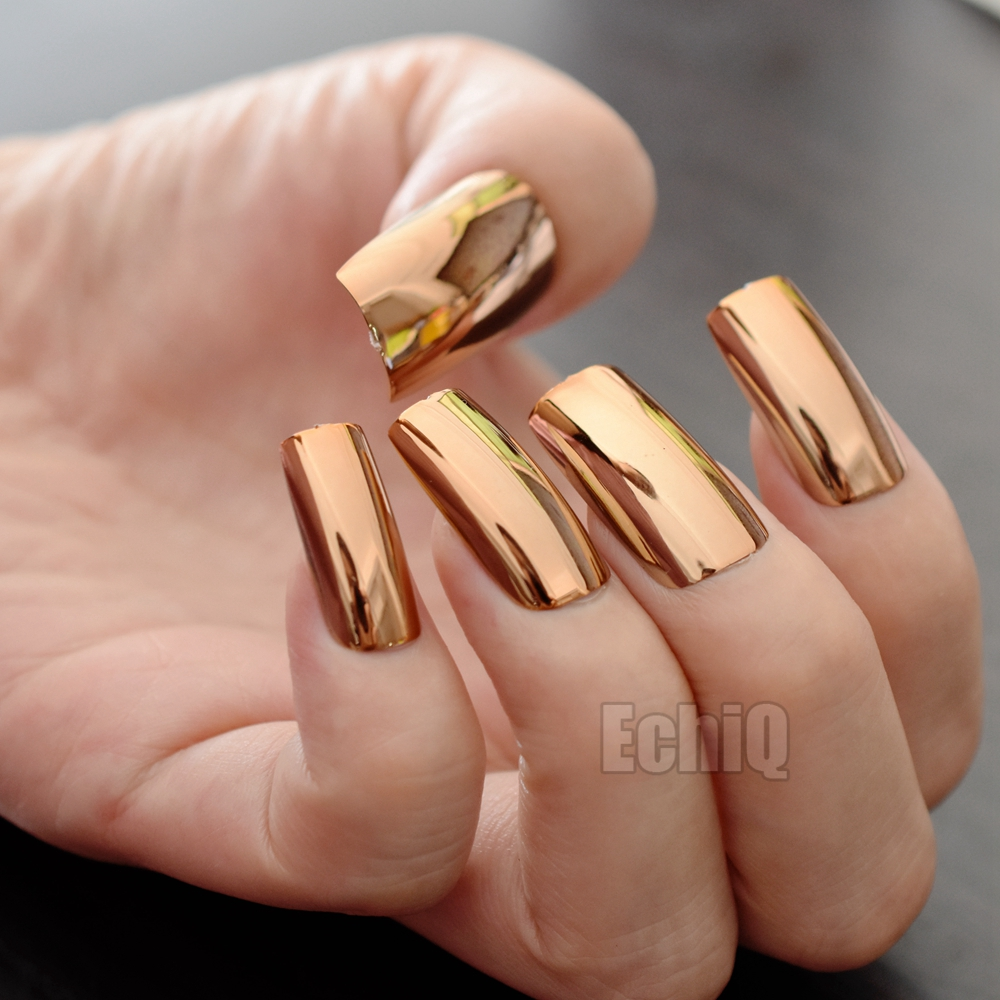 Extra Long Press On Nails Glossy Champagne Mirror Acrylic Nail Tips ...