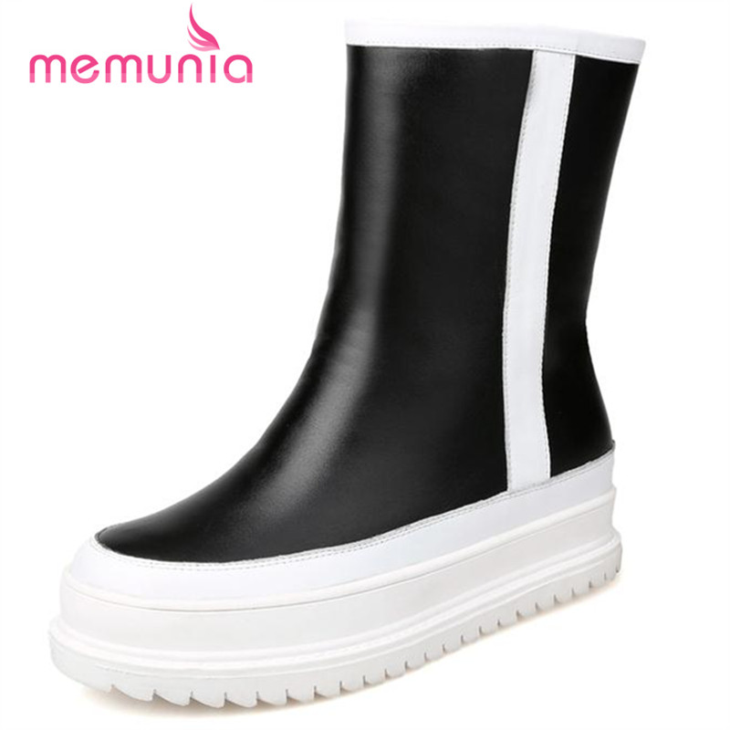 ФОТО MEMUNIA Top quality genuine leather boots winter mixed colors women ankle boots winter flat platform shoes snow boots