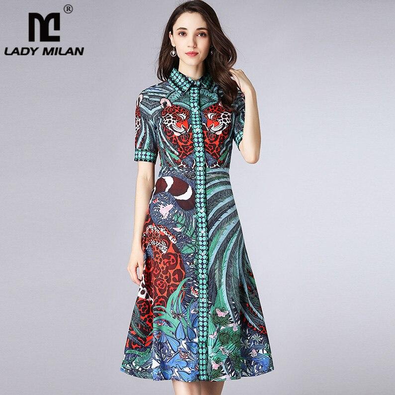 Lady Milan Womens Turn Down Collar Short Sleeves Leopard Printed Elegant Designer Runway Casual Dresses