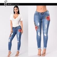 2018 Новый Для женщин тощий прикладом лифт бедра джинсовые штаны с цветочной вышивкой с низкой посадкой Рваные джинсы