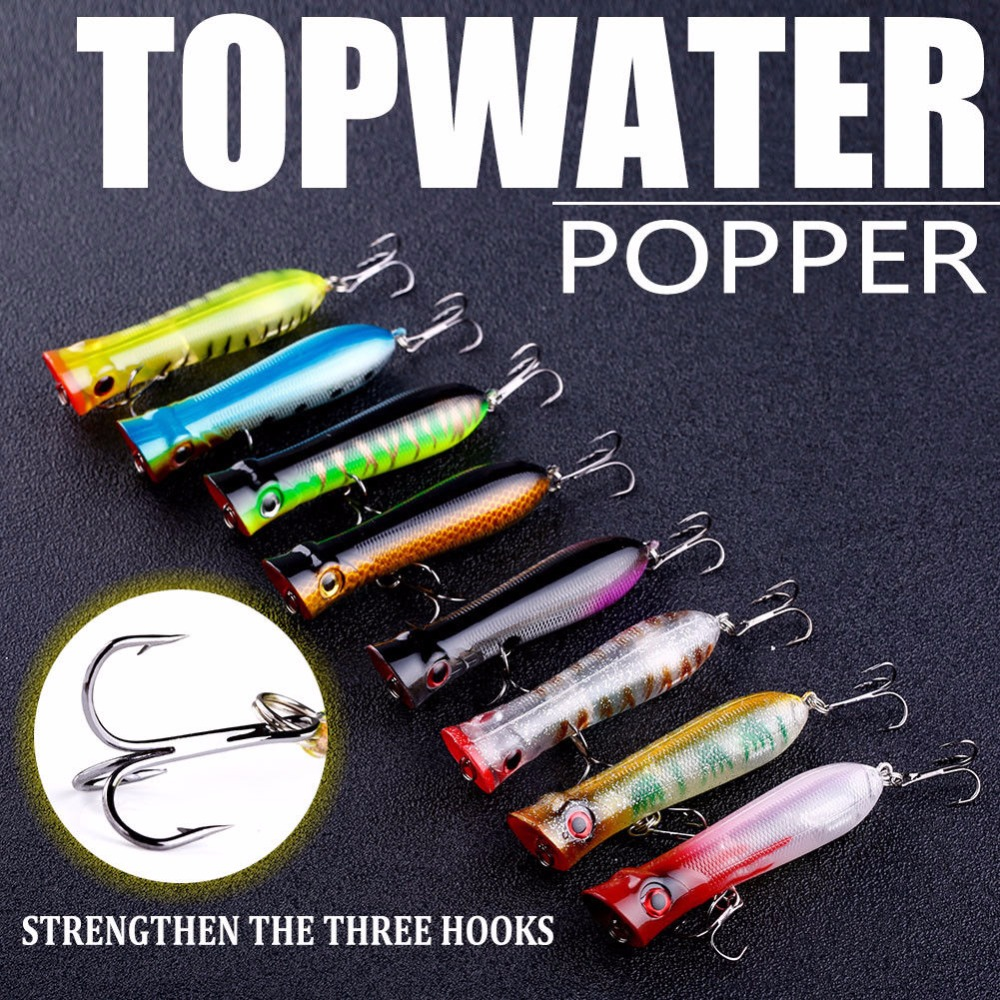Image 3 - 5 Pcs Topwater Fishing Lure Popper Crankbait ABS Plastic 3D eyes Saltwater Fishing Lures Wobbler Sea Bass 102mm 12g-in Fishing Lures from Sports & Entertainment