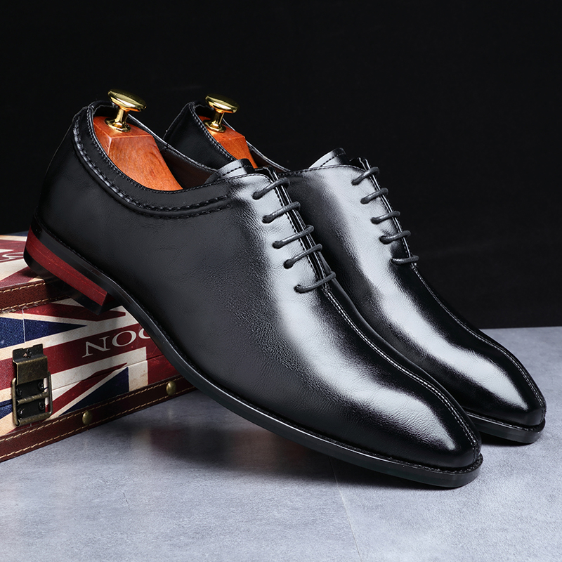 2019 Newest Men Dress Shoes Designer Business Office Lace-Up Loafers Casual Driving Shoes Men's Flat Party Leather Shoes 3 Color (17)