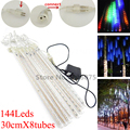 Newest 8X30cm 144Leds LED Meteor Shower Rain Tubes Snowfall LED String Lights for Xmas Valentine Holiday Tree Garden Decorations