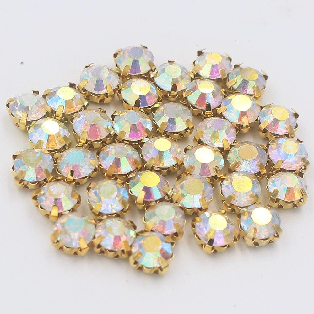 288pcs/lot Ss30 6.0mm CrystalAB Gold 4 Claws Rhinestones Sewing Strass Cu Base Rhinestones Stones Sew On Rhinestone For Clothes