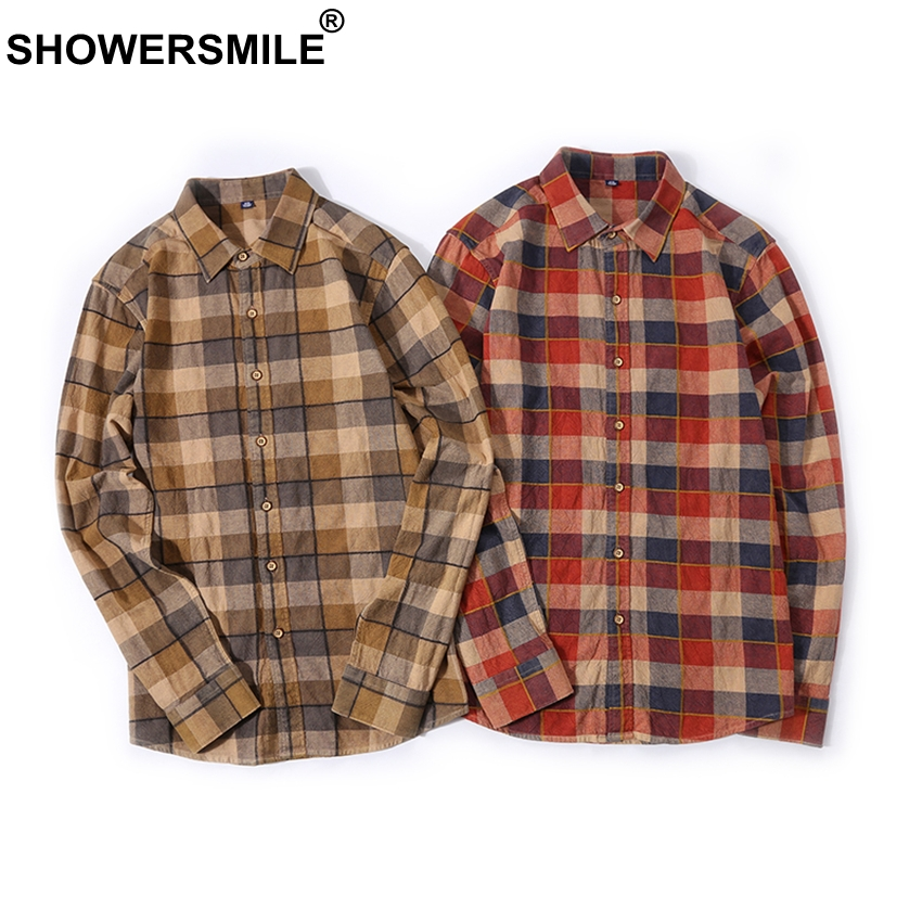 LIFENGS Mens Autumn New Casual Long-Sleeve Button Down Cotton Plaid Shirt