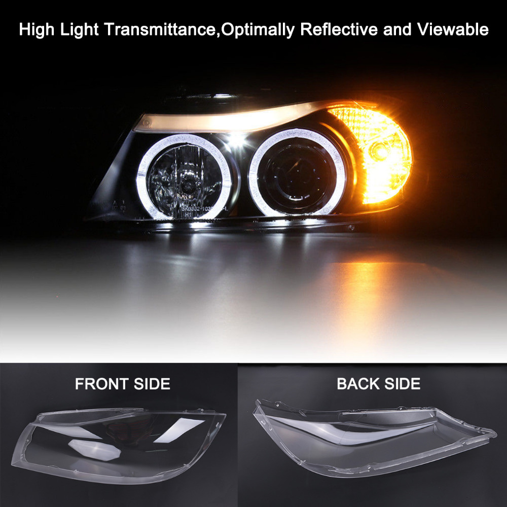 KOLEROADER 1Pair Headlight Clear Lens Plastic Shell Cover For BMW E90 Sedan / E91 Touring 2004 - 2007 325i 328i 335i Car Styling 2pcs polycarbonate headlamp headlight clear lens replacement covers case shell only xenon for bmw 3 e90 sedan e91 touring