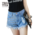YIKUYIYA Rock Punk Solid Color Women Rivet Shorts Sexy High Waist Hole Distressed Hot Shorts Women Casual Cool Denim Shorts