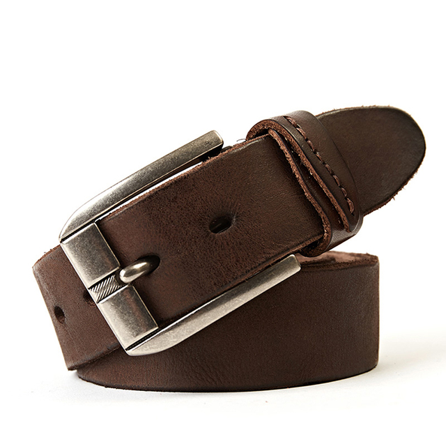 6c83f19f5dd70 genuine leather belt men luxury vintage men's belts brown color jeans  buckle strap good quality cowhide free shipping