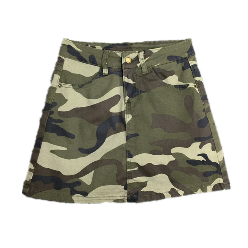 Plus Size Women Military Camouflage Design Skirt Streewear High Waist Sexy Short A line Skirts Cotton Summer Mini Skirt