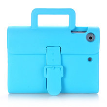 Briefcase Shape Silicone Tablet PC Cases For Apple iPad mini 1/2/3/4 Anti-scratch Tablet Cases with Foldable Kickstand Function(China)