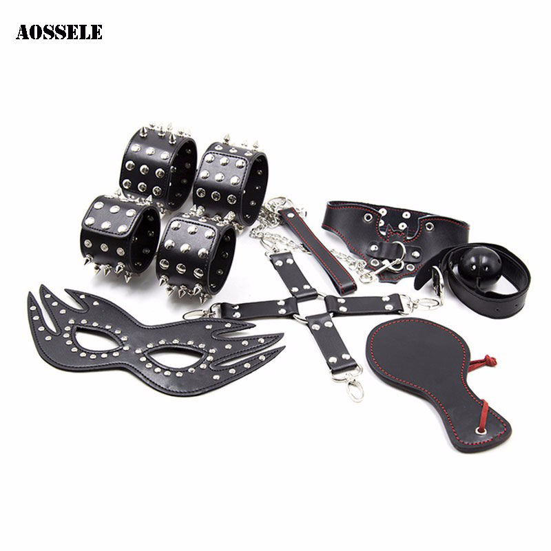 купить 7PCS/Set BDSM Fetish Bondage Restraint SM Slave Role PlayingToys Adult Game Sex Toys For Couples Women Flirting Men Erotic toys по цене 2294.92 рублей